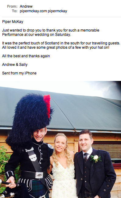 Andrew and Sallys Wedding testimonial