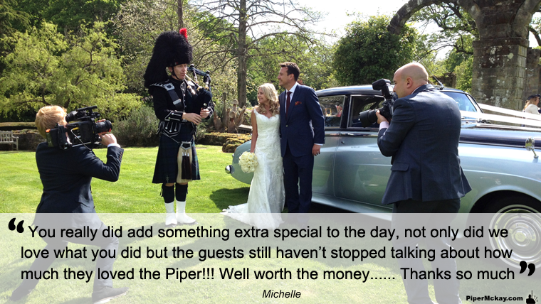 Michelle and Iain's Wedding Day pictured with Piper Mckay
