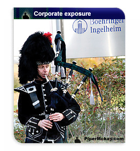 Corporate events with a Scottish bagpiper