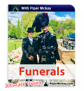 Piper Mckay with a Funeral Manager after Bagpiping at an important Remembrance