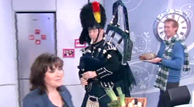 Piper Mckay piping on the Haggis with Dr Hillary on itv's Lorraine show