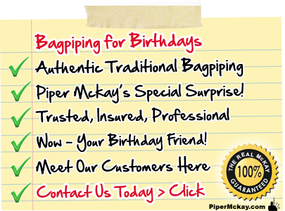 Bagpiper Hire for Birthdays with Piper Mckay